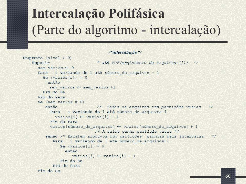 60 Intercalação Polifásica (Parte do algoritmo - intercalação) /*intercalação*/ Enquanto (nível > 0) Repetir* até EOF(arq[número_de_arquivos-1])) */ sem_vazios 0 Para i variando de 1 até número_de_arquivos - 1 Se (vazios[i]) = 0 então sem_vazios sem_vazios +1 Fim do Se Fim do Para Se (sem_vazios = 0) então/* Todos os arquivos tem partições vazias */ Para i variando de 1 até número_de_arquivos-1 vazios[i] vazios[i] - 1 Fim do Para vazios[número_de_arquivos] vazios[número_de_arquivos] + 1 /* A saída ganha partição vazia */ senão /* Existem arquivos com partições prontas para intercalar */ Para i variando de 1 até número_de_arquivos-1 Se (vazios[i]) 0 então vazios[i] vazios[i] - 1 Fim do Se Fim do Para Fim do Se