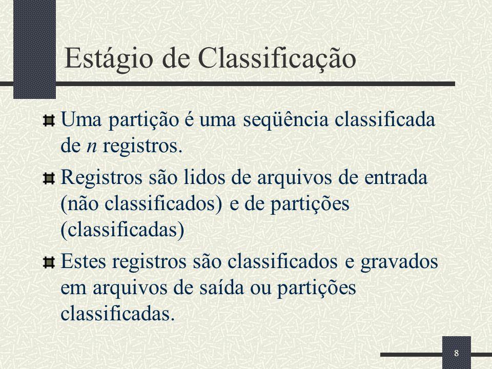8 Estágio de Classificação Uma partição é uma seqüência classificada de n registros. Registros são lidos de arquivos de entrada (não classificados) e