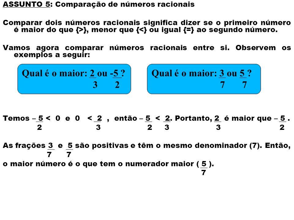 ASSUNTO 5: Comparação de números racionais Comparar dois números racionais significa dizer se o primeiro número é maior do que {>}, menor que {<} ou i