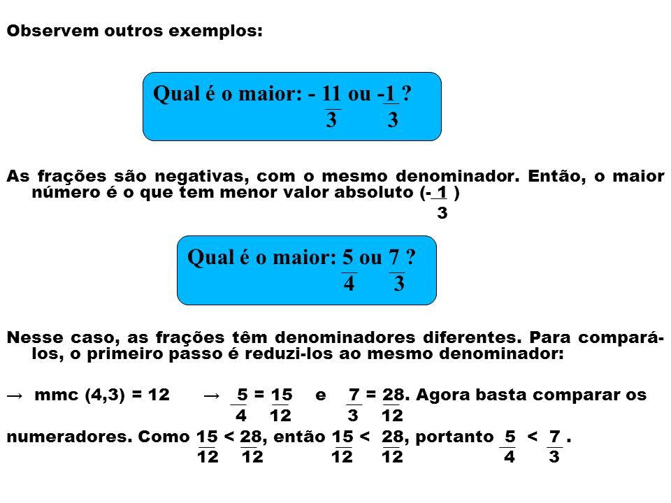 Observem outros exemplos: As frações são negativas, com o mesmo denominador. Então, o maior número é o que tem menor valor absoluto (- 1 ) 3 Nesse cas