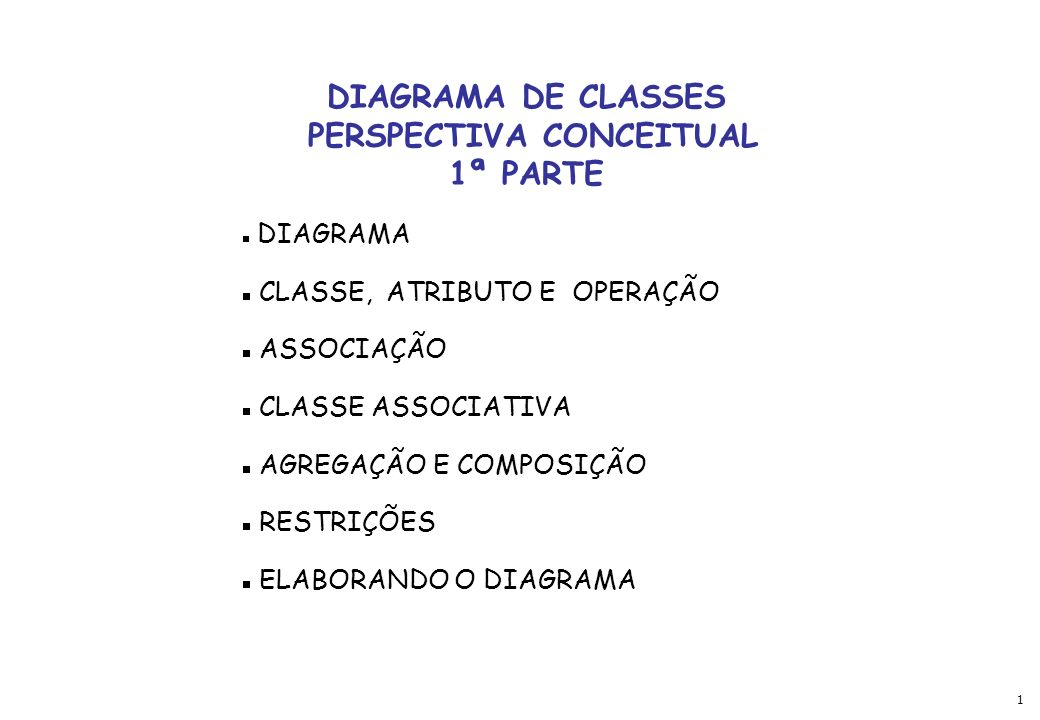 1 DIAGRAMA DE CLASSES PERSPECTIVA CONCEITUAL 1ª PARTE DIAGRAMA CLASSE, ATRIBUTO E OPERAÇÃO ASSOCIAÇÃO CLASSE ASSOCIATIVA AGREGAÇÃO E COMPOSIÇÃO RESTRI
