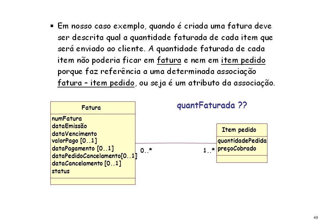 49 Fatura numFatura dataEmissão dataVencimento valorPago [0..1] dataPagamento [0..1] dataPedidoCancelamento[0..1] dataCancelamento [0..1] status 1..*0