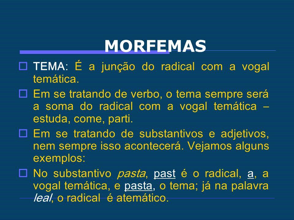 MORFEMAS TEMA: É a junção do radical com a vogal temática. Em se tratando de verbo, o tema sempre será a soma do radical com a vogal temática – estuda
