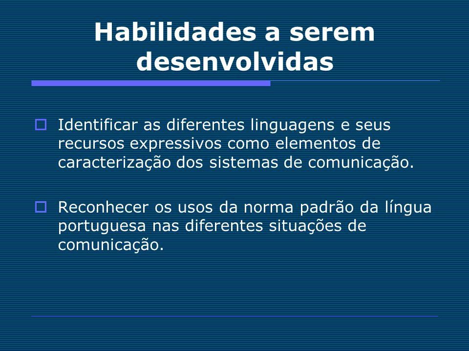 Habilidades a serem desenvolvidas Identificar as diferentes linguagens e seus recursos expressivos como elementos de caracterização dos sistemas de co