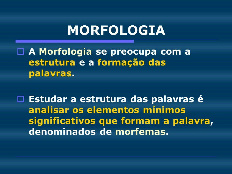A Morfologia se preocupa com a estrutura e a formação das palavras. Estudar a estrutura das palavras é analisar os elementos mínimos significativos qu