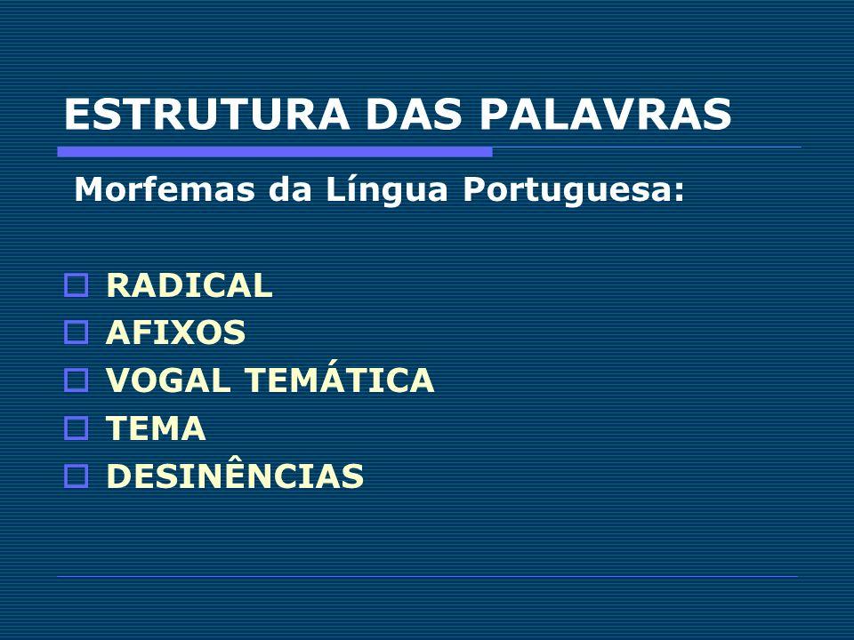 ESTRUTURA DAS PALAVRAS Morfemas da Língua Portuguesa: RADICAL AFIXOS VOGAL TEMÁTICA TEMA DESINÊNCIAS