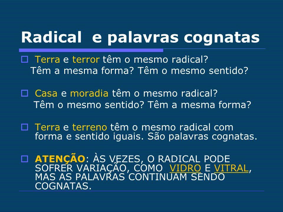 Radical e palavras cognatas Terra e terror têm o mesmo radical? Têm a mesma forma? Têm o mesmo sentido? Casa e moradia têm o mesmo radical? Têm o mesm