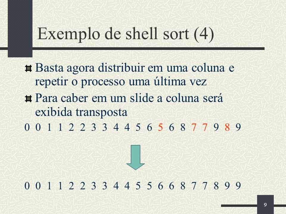 9 Exemplo de shell sort (4) Basta agora distribuir em uma coluna e repetir o processo uma última vez Para caber em um slide a coluna será exibida tran