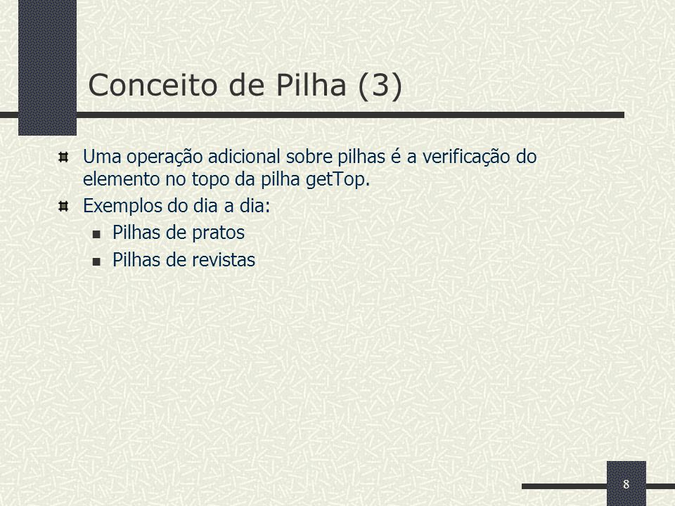 59 Métodos getHead, enqueue e dequeue da Classe QueueAsLinkedList (2) // pgm06_19.java (Continuação) public void enqueue (Object object) { list.append (object); ++count; } public Object dequeue () { if(count == 0) throw new ContainerEmptyException (); Object result = list.getFirst (); list.extract(result); --count; return result; } //...
