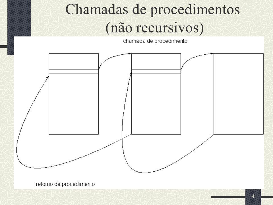 5 Implementação de procedimentos recursivos Procedimentos recursivos só podem ser implementados em alto nível de abstração.