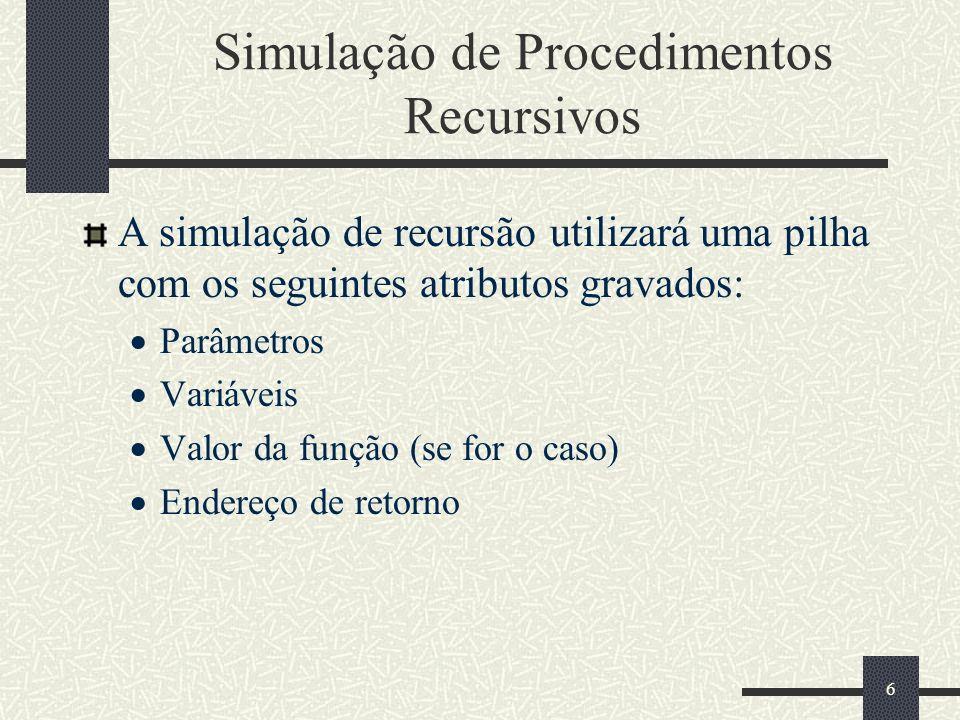 27 Estrutura do programa while (FactStack.size()) { switch (i) { case 0: // início do procedimento recursivo { if(currNode.getValue()== 0) //caso básico, Saída da Recursão { } else //entrada normal da recursão { } break; } //end case 0 case 1: // retorno da chamada recursiva { break; } //end case 1 default: // retorno final { return (Result); break; } //end default } //end switch } //end While