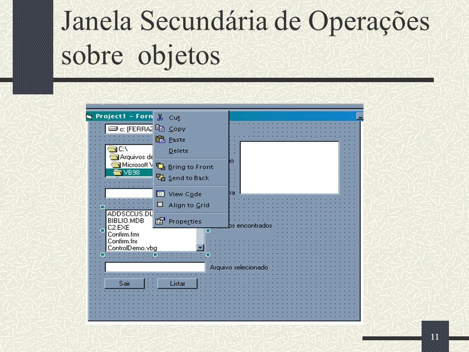 11 Janela Secundária de Operações sobre objetos