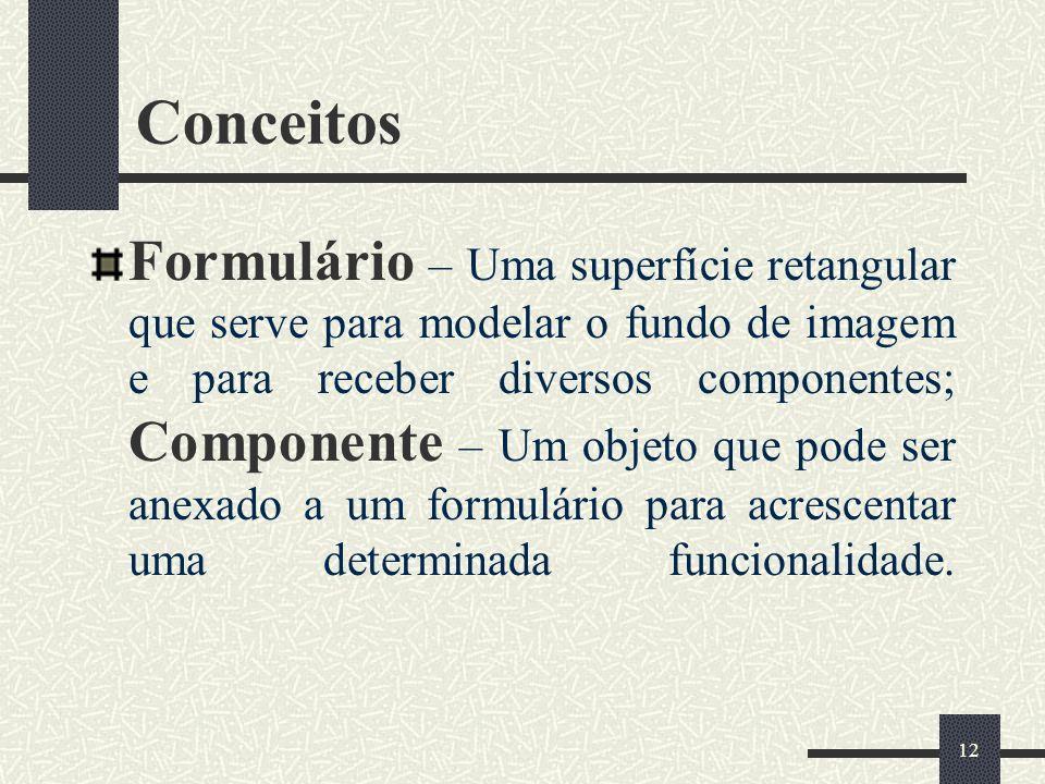 12 Conceitos Formulário – Uma superfície retangular que serve para modelar o fundo de imagem e para receber diversos componentes; Componente – Um obje