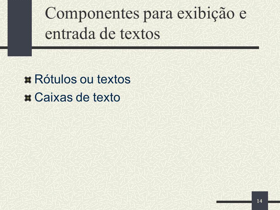 14 Componentes para exibição e entrada de textos Rótulos ou textos Caixas de texto