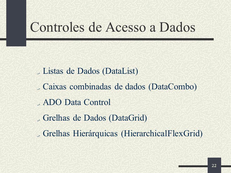 22 Controles de Acesso a Dados Listas de Dados (DataList) Caixas combinadas de dados (DataCombo) ADO Data Control Grelhas de Dados (DataGrid) Grelhas