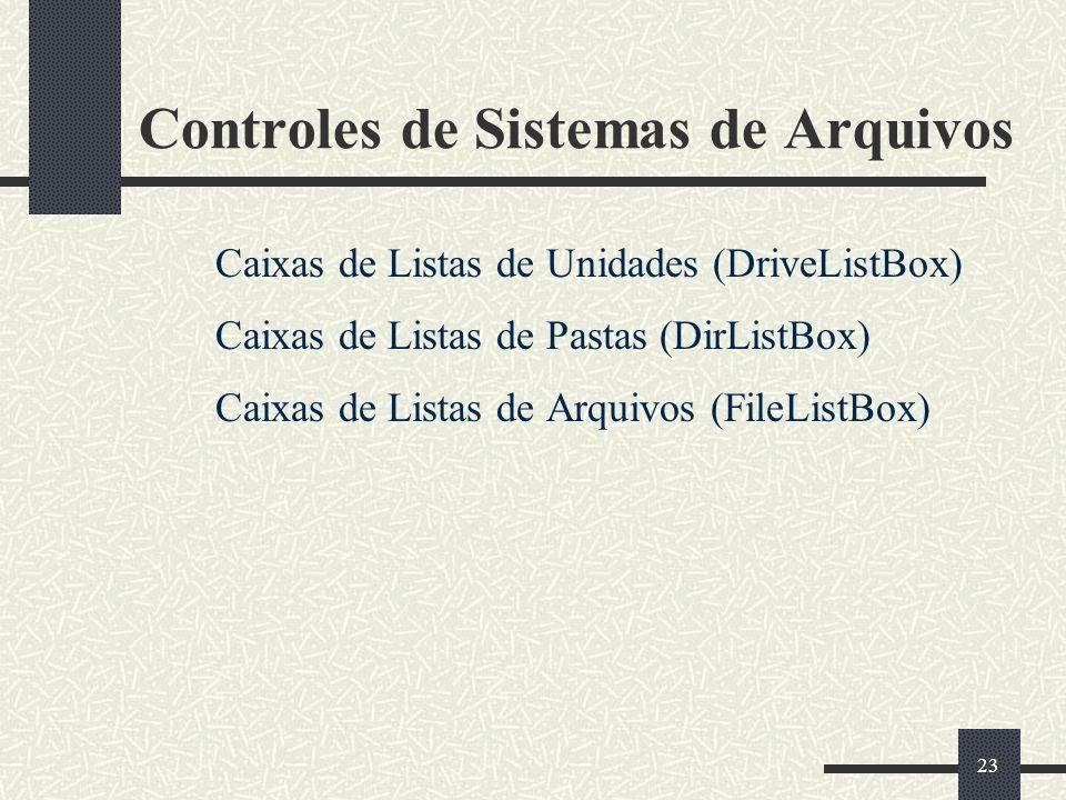 23 Controles de Sistemas de Arquivos Caixas de Listas de Unidades (DriveListBox) Caixas de Listas de Pastas (DirListBox) Caixas de Listas de Arquivos