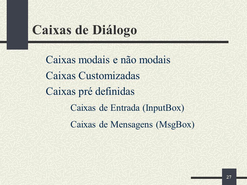 27 Caixas de Diálogo Caixas modais e não modais Caixas Customizadas Caixas pré definidas Caixas de Entrada (InputBox) Caixas de Mensagens (MsgBox)