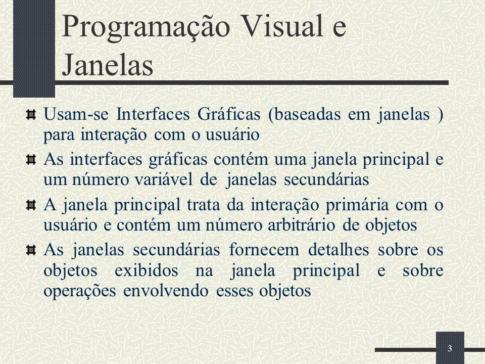4 Programação Visual e Janelas O usuário interage com o sistema selecionando um ou mais objetos (clicando sobre eles, por exemplo) e depois escolhendo uma operação (usando um menu, por exemplo) para ser executada sobre os objetos selecionados.