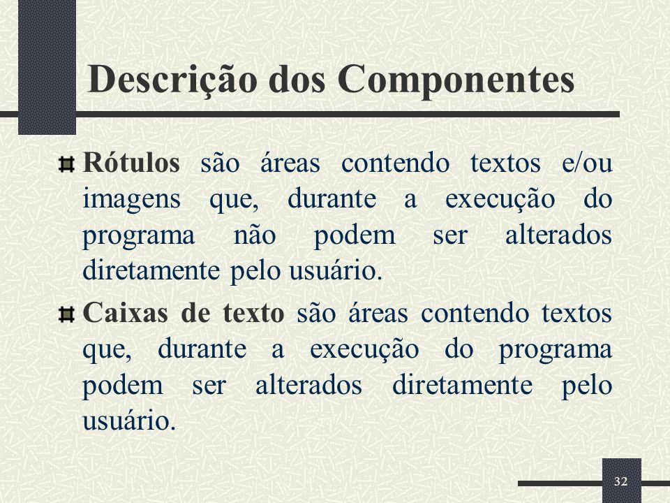 32 Descrição dos Componentes Rótulos são áreas contendo textos e/ou imagens que, durante a execução do programa não podem ser alterados diretamente pe