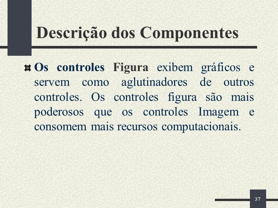 37 Descrição dos Componentes Os controles Figura exibem gráficos e servem como aglutinadores de outros controles. Os controles figura são mais poderos