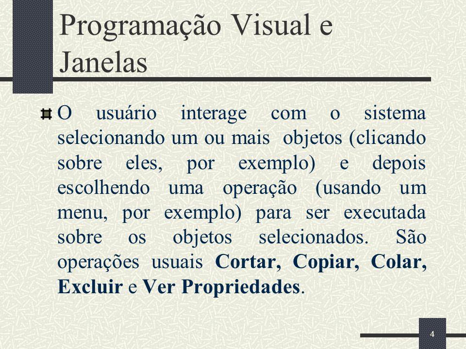 4 Programação Visual e Janelas O usuário interage com o sistema selecionando um ou mais objetos (clicando sobre eles, por exemplo) e depois escolhendo