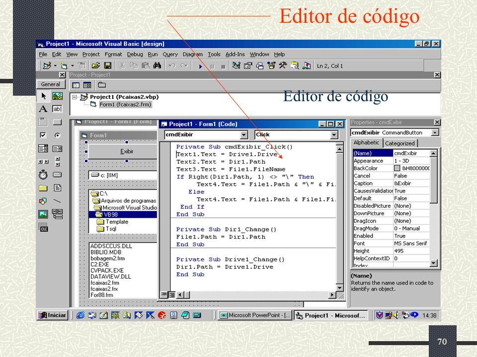 70 Editor de código