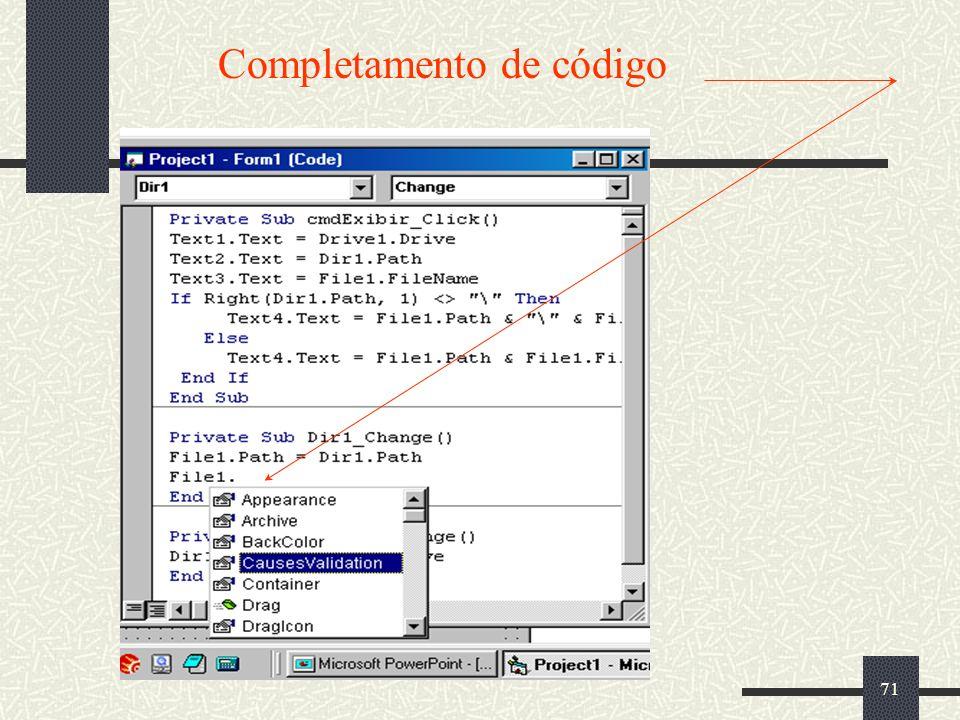 71 Completamento de código