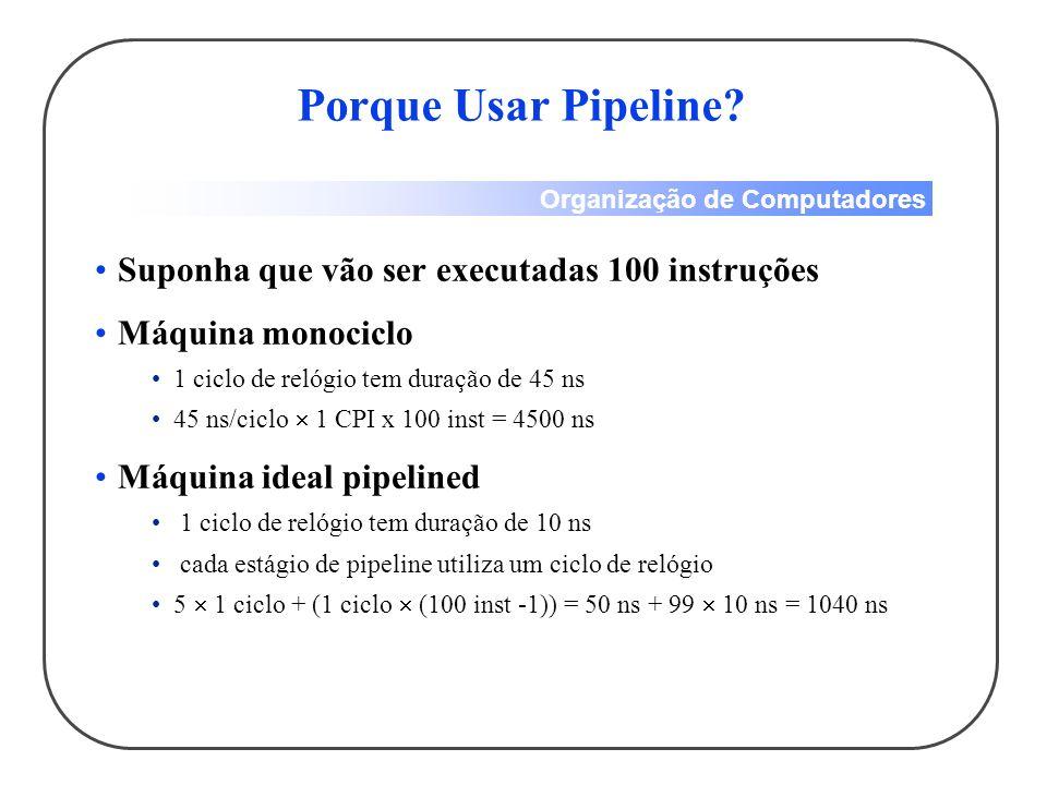 Organização de Computadores Suponha que vão ser executadas 100 instruções Máquina monociclo 1 ciclo de relógio tem duração de 45 ns 45 ns/ciclo 1 CPI x 100 inst = 4500 ns Máquina ideal pipelined 1 ciclo de relógio tem duração de 10 ns cada estágio de pipeline utiliza um ciclo de relógio 5 1 ciclo + (1 ciclo (100 inst -1)) = 50 ns + 99 10 ns = 1040 ns Porque Usar Pipeline?