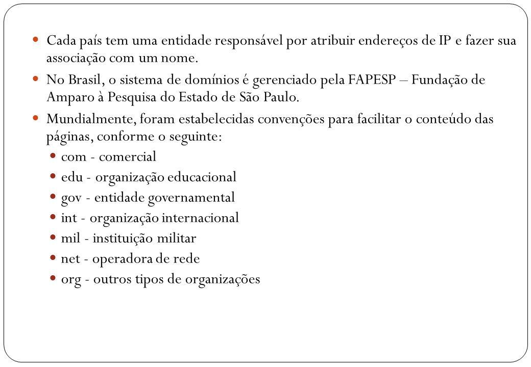 13 Cada país tem uma entidade responsável por atribuir endereços de IP e fazer sua associação com um nome. No Brasil, o sistema de domínios é gerencia