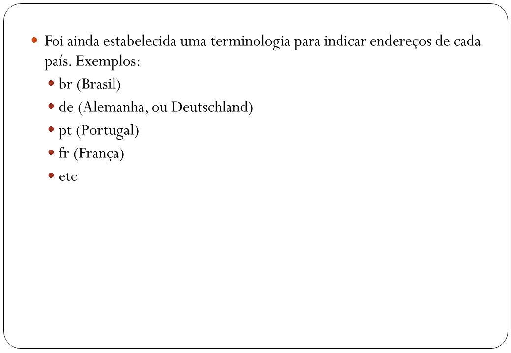 14 Foi ainda estabelecida uma terminologia para indicar endereços de cada país. Exemplos: br (Brasil) de (Alemanha, ou Deutschland) pt (Portugal) fr (