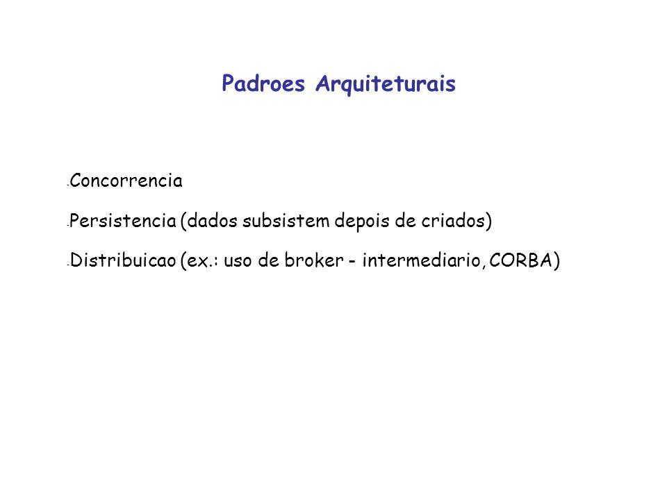 Tipos - Arquitetura centrada em dados (grande fluxo de dados entre subsistemas) - Arquitetura Cliente / Servidor (componentes: cliente, servidor, rede