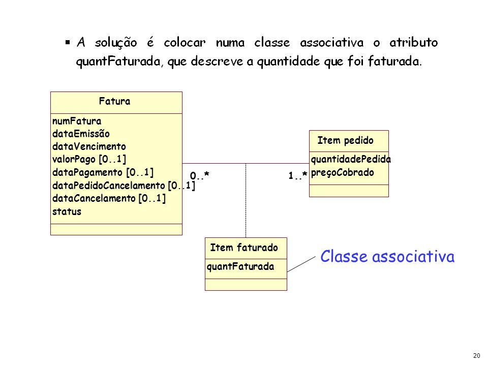19 Fatura numFatura dataEmissão dataVencimento valorPago [0..1] dataPagamento [0..1] dataPedidoCancelamento[0..1] dataCancelamento [0..1] status 1..*0