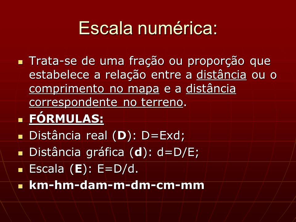 Escala numérica: Trata-se de uma fração ou proporção que estabelece a relação entre a distância ou o comprimento no mapa e a distância correspondente