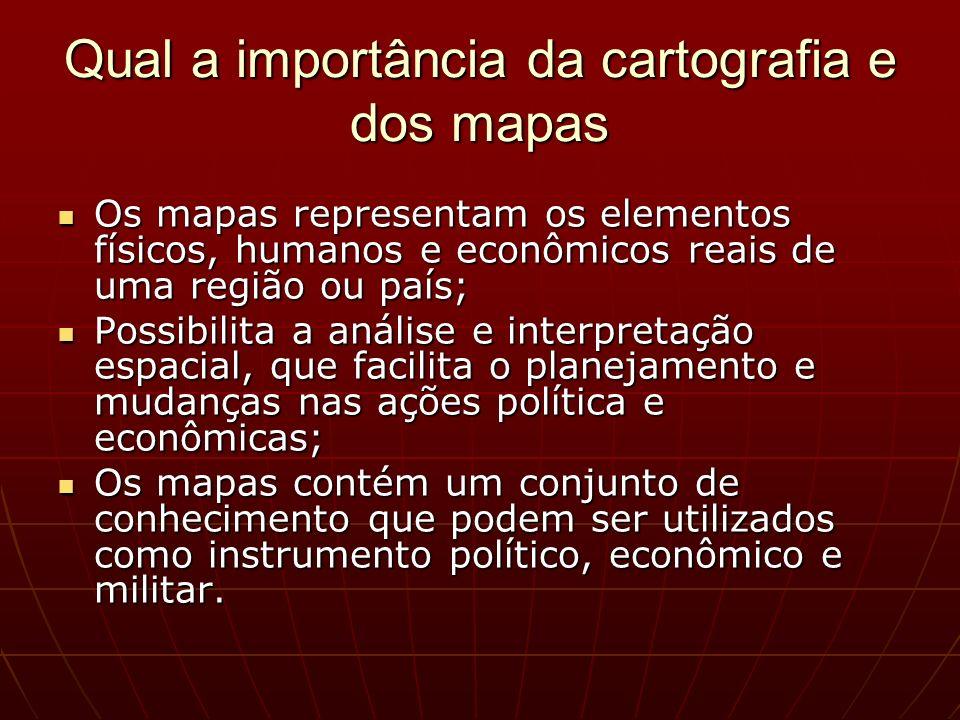 Os mapas representam os elementos físicos, humanos e econômicos reais de uma região ou país; Os mapas representam os elementos físicos, humanos e econ