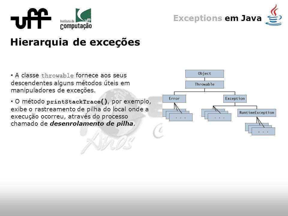 Exceptions em Java Hierarquia de exceções A classe throwable fornece aos seus descendentes alguns métodos úteis em manipuladores de exceções.