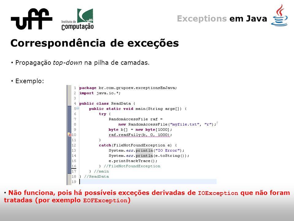 Exceptions em Java Correspondência de exceções Propagação top-down na pilha de camadas.