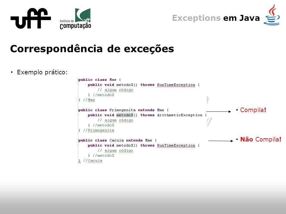 Exceptions em Java Correspondência de exceções Exemplo prático: Compila! Não Compila!