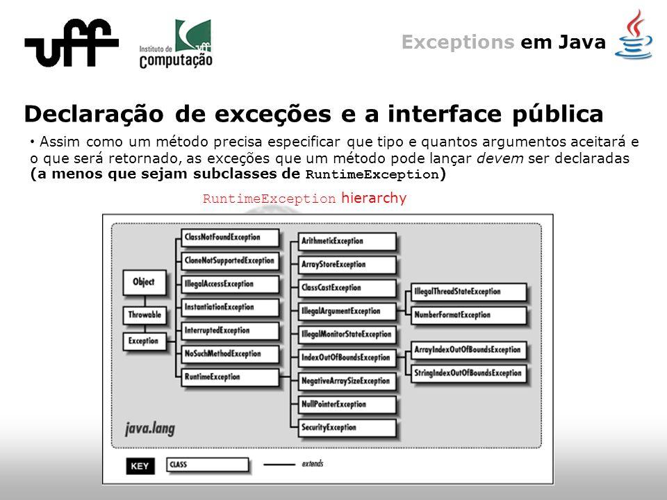 Exceptions em Java Declaração de exceções e a interface pública Assim como um método precisa especificar que tipo e quantos argumentos aceitará e o que será retornado, as exceções que um método pode lançar devem ser declaradas (a menos que sejam subclasses de RuntimeException ) RuntimeException hierarchy