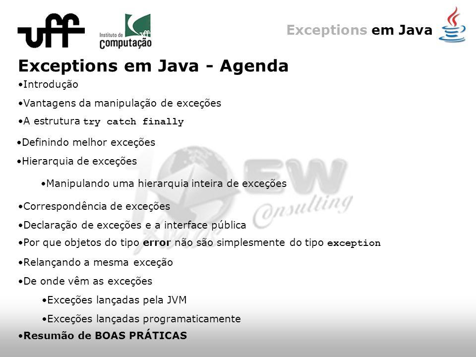 Exceptions em Java Exceptions em Java - Agenda A estrutura try catch finally Hierarquia de exceções Definindo melhor exceções Introdução Vantagens da manipulação de exceções Manipulando uma hierarquia inteira de exceções Correspondência de exceções Declaração de exceções e a interface pública Por que objetos do tipo error não são simplesmente do tipo exception Relançando a mesma exceção De onde vêm as exceções Exceções lançadas pela JVM Exceções lançadas programaticamente Resumão de BOAS PRÁTICAS