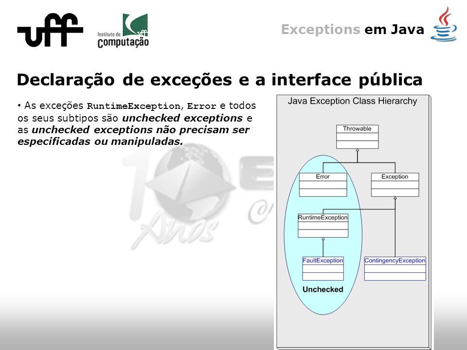 Exceptions em Java Declaração de exceções e a interface pública As exceções RuntimeException, Error e todos os seus subtipos são unchecked exceptions e as unchecked exceptions não precisam ser especificadas ou manipuladas.