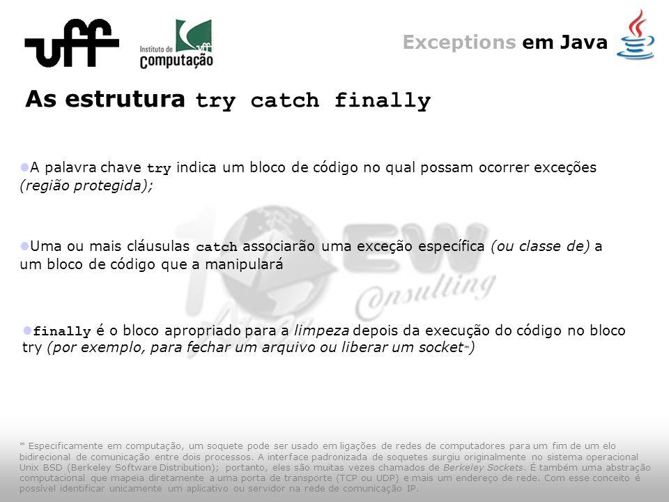 Exceptions em Java A palavra chave try indica um bloco de código no qual possam ocorrer exceções (região protegida); As estrutura try catch finally Uma ou mais cláusulas catch associarão uma exceção específica (ou classe de) a um bloco de código que a manipulará finally é o bloco apropriado para a limpeza depois da execução do código no bloco try (por exemplo, para fechar um arquivo ou liberar um socket * ) * Especificamente em computação, um soquete pode ser usado em ligações de redes de computadores para um fim de um elo bidirecional de comunicação entre dois processos.