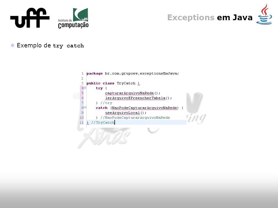 Exceptions em Java Declaração de exceções e a interface pública Voltando às exceções RuntimeException : Como vimos, um objeto do tipo RuntimeException pode ser lançado de qualquer método sem ser especificado como parte da interface pública do método (e sem a necessidade de um manipulador) Mesmo se um método declarar realmente uma exceção RuntimeException, o método que o chamar não será obrigado a manipulá-la ou declará-la (pois ela faz parte das unchecked exceptions)
