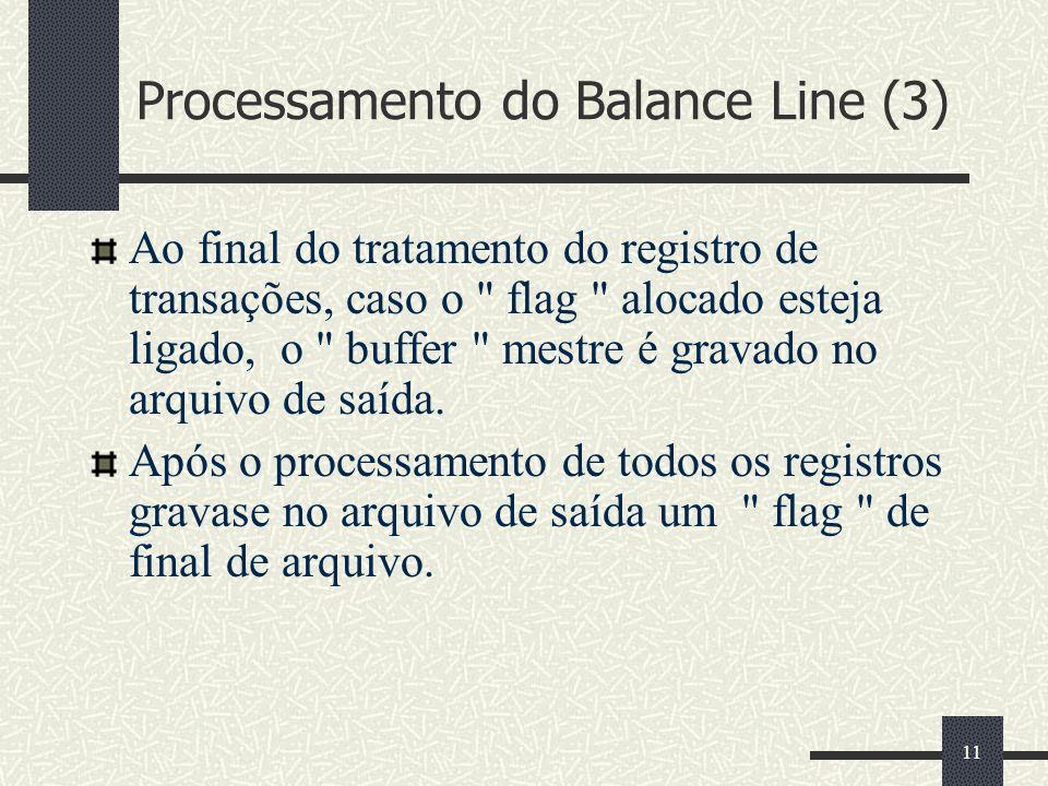 11 Processamento do Balance Line (3) Ao final do tratamento do registro de transações, caso o