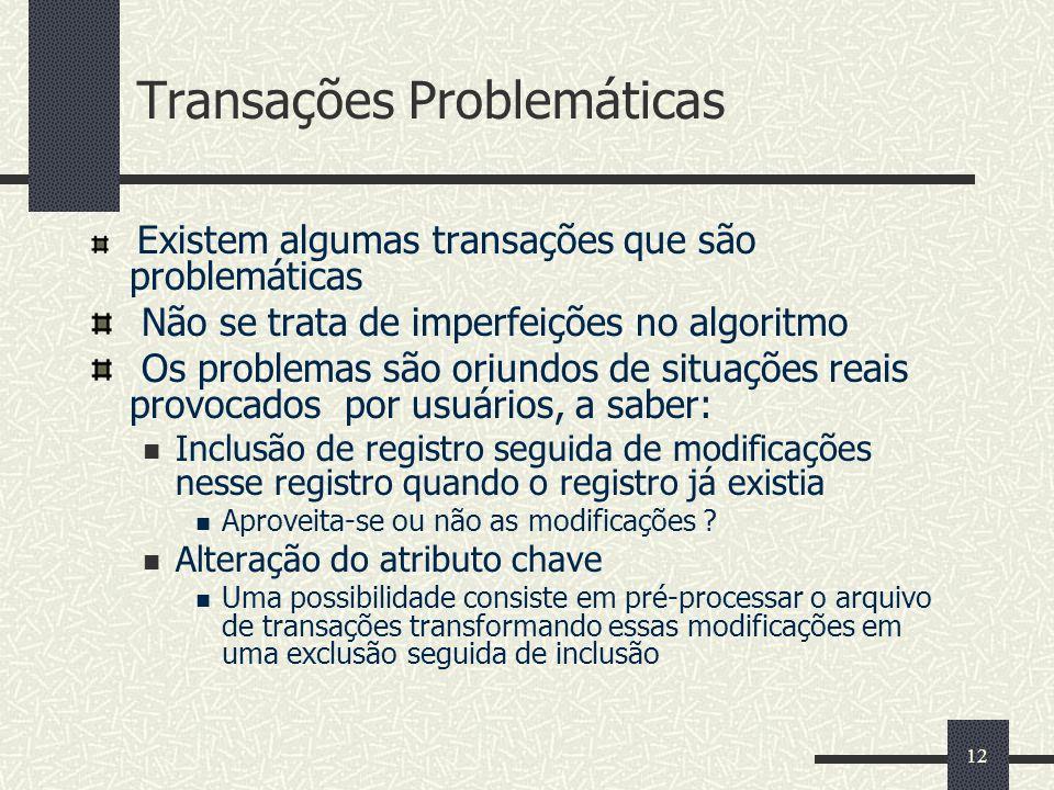 12 Transações Problemáticas Existem algumas transações que são problemáticas Não se trata de imperfeições no algoritmo Os problemas são oriundos de si