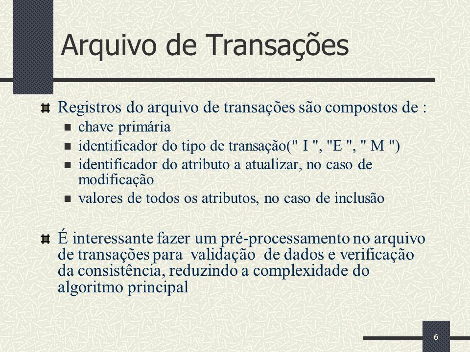 6 Arquivo de Transações Registros do arquivo de transações são compostos de : chave primária identificador do tipo de transação(