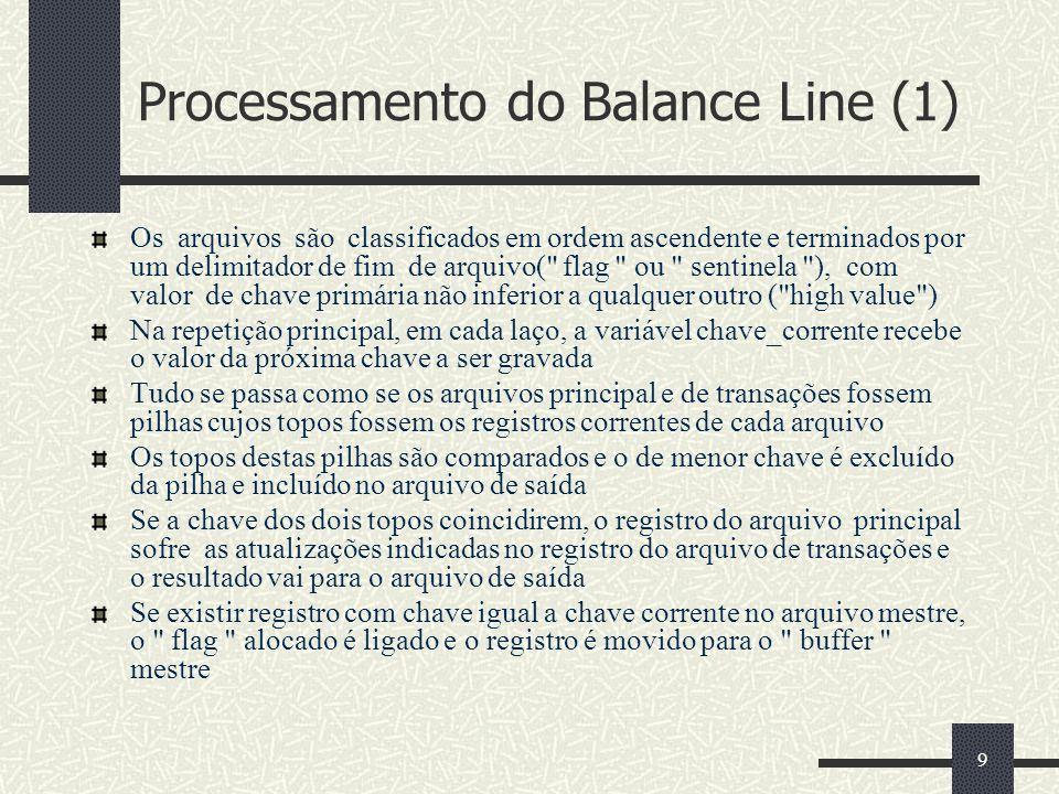 9 Processamento do Balance Line (1) Os arquivos são classificados em ordem ascendente e terminados por um delimitador de fim de arquivo(