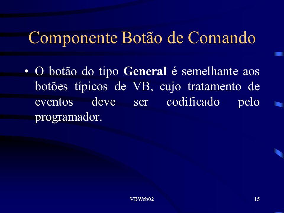 VBWeb0215 Componente Botão de Comando O botão do tipo General é semelhante aos botões típicos de VB, cujo tratamento de eventos deve ser codificado pe