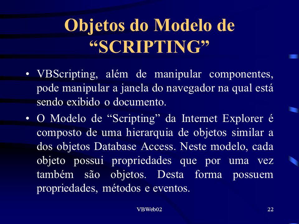 VBWeb0222 Objetos do Modelo de SCRIPTING VBScripting, além de manipular componentes, pode manipular a janela do navegador na qual está sendo exibido o