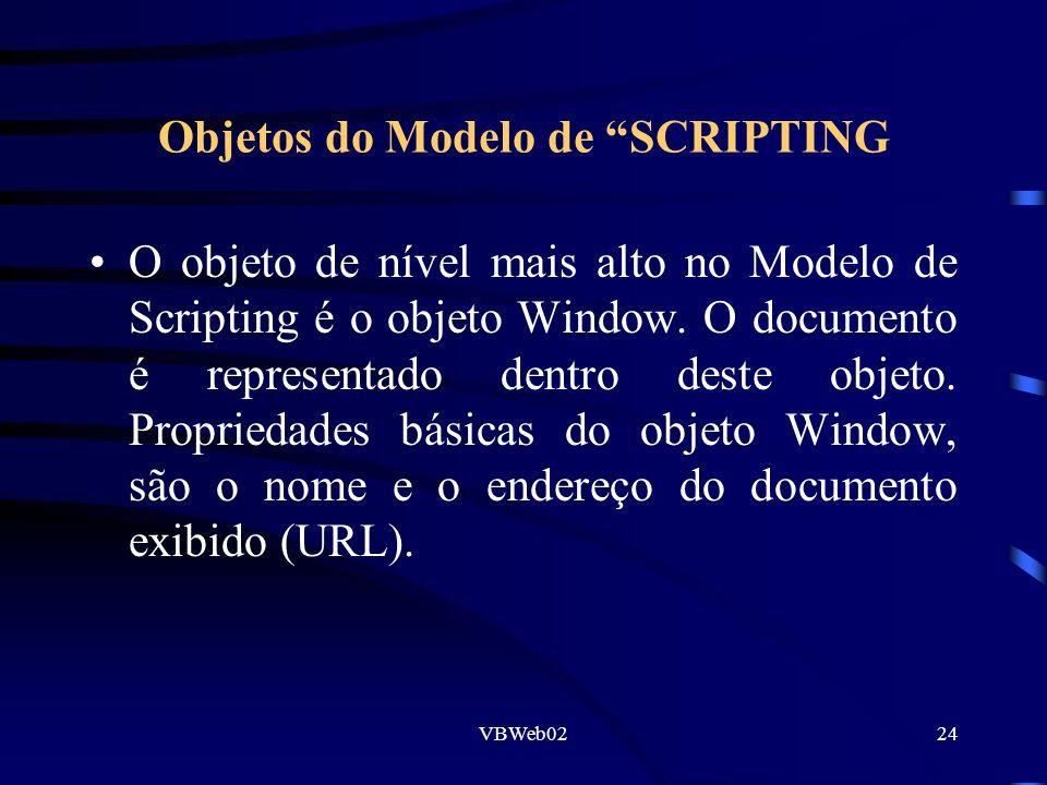 VBWeb0224 Objetos do Modelo de SCRIPTING O objeto de nível mais alto no Modelo de Scripting é o objeto Window. O documento é representado dentro deste