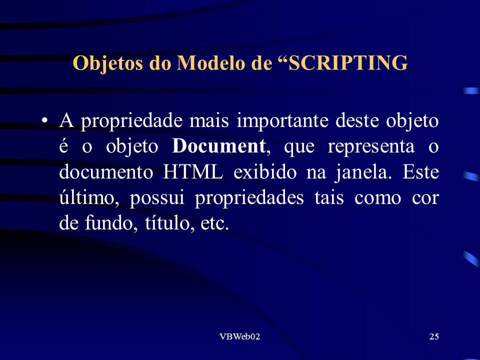 VBWeb0225 Objetos do Modelo de SCRIPTING A propriedade mais importante deste objeto é o objeto Document, que representa o documento HTML exibido na janela.